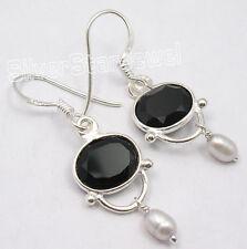 """925 PURE Silver FACETED BLACK ONYX BESTSELLER Earrings 1.5"""" ONLINE BUY"""