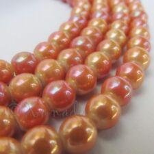 Orange Gold Pearl Finish 8mm Round Glass Beads G2167 - 20, 50 Or 100PCs