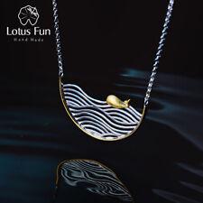 Lotus Fun Real 925 Sterling Silver Handmade Designer Fine Jewelry Creative Swimm