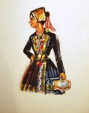 PEINTURE SUR SOIE femme en tenue traditionnelle avec coiffe coiffe (Amélia RE)