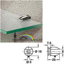 2 X Hafele diseñador Estante De Vidrio De Apoyo, Para 5-7mm espesor, de tornillo fiador