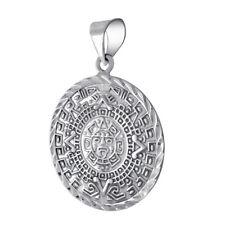 925 Sterling Silver Mayan Aztec Sun Calender Calendario Azteca Shine Cut Pendant