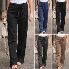 ZANZEA Elegant Ladies Wide Legs Long Pants Elastic Waist Loose Solid Trousers US