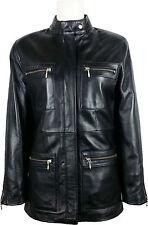 UNICORN Womens Classic Mid-Length Coat - Real Leather Jacket - Black #5U