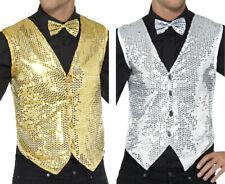 Men 1920s Fancy Dress Casino Party Cabaret Showtime Sequin Vest Waistcoat