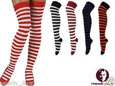 Halloween Navidad Rayas A Disfraz Para Mujer Dama Calcetines Sobre Rodilla