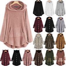 Plus Size Womens Winter Warm Hooded Sweater Fleece Jacket Casual Coats Outwear