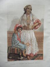 CHROMOLITHOGRAPHIE  19ème  FEMME ET ENFANT TANGER MAROC