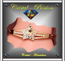 Jonc Bangle Bracelet cristal autrichien Etoile doré à l'or fin et zirconium