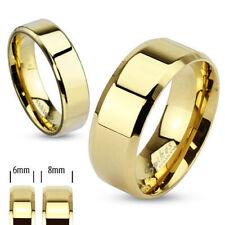 Herren Damen Ring aus Edelstahl Gold vergoldet Band Ring versch. Größen