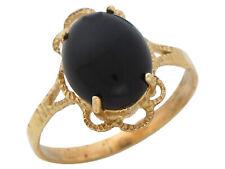 10k or 14k Yellow Gold Bold Cabochon Cut Onyx Ladies Elegant Flower Frame Ring