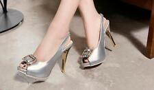 Stiletto Scarpe decolte sandali eleganti donna  spillo plateau 11 argento 8394
