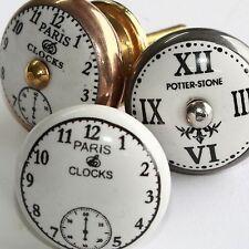 Möbelknopf Möbelgriff Möbelknöpfe Möbelknäufe Keramik Weiß Nostalgie Uhr zw