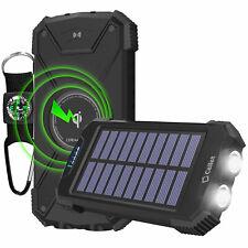 Solar 10000mAh Qi Wireless Power Bank USB Port LED Flashlight Carabineer Outdoor