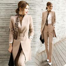 Tailleur completo donna beige giacca manica lunga e pantalone slim elegante  4859 5d932df6b05