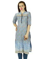 Bimba Rustic Blue Cotton Kurta Kurti Floral Tunic 3/4 Sleeve Indian Clothing