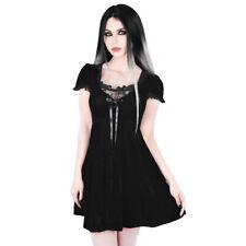 Killstar Goth Okkult Wiccan Gothic Samt Spitze Babydoll Kleid - Heather Schleife