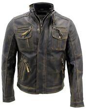 Mens Biker Motorcycle Retro Cafe Racer Distressed Leather Jacket