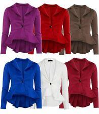 Neue Damen Plus Größe Taille Rüschen Blazer Jacke 36-52