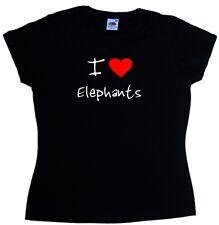 I Love Heart Elephants Ladies T-Shirt