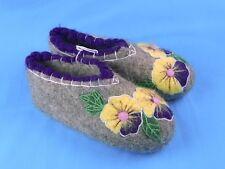 100% Wool Felt Handmade Embroidered Winter Slippers Booties House Shoes Valenki