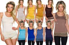top alto bordo pizzo maglietta basic 10 colori elasticizzato soffogiacca nuovo