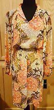 Ralph Lauren Autumn Floral Smocked Waist Tie Neck Georgette Blouson Dress - $155
