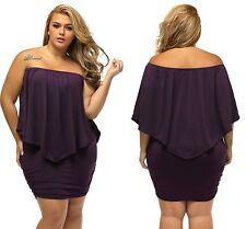 Ladies Purple Lagenlook Plus Multiple Dressing Layered Mini Dress 16 18 20 22