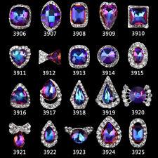 2 St. Overlays Nagelschmuck Deko Strass Kristall blau pink irisierend silber