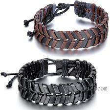 Leather Wrap Braided Bangle Adjustable Bracelet Tribal Ethnic Men Women Unisex