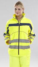 Ladies Womens Men Hi High Vis Viz Visibility Yellow Softshell Fleece Jacket