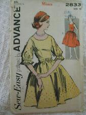 Vintage 50's ADVANCE 2833 FLARED DRESS Sewing Pattern Women Size 10 Bust 31