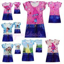 Girls/Toddlers 3DCartoon Trolls, Moana,Belle Simulation Jean Summer Casual Dress