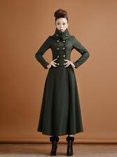 Women's Super Long Wool Overcoat Slim Double-breasted Big Skirt Military Coat Sz