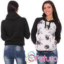 calde da donna felpa con cappuccio a fiori maglione maglia taglie: 8-14 fz58