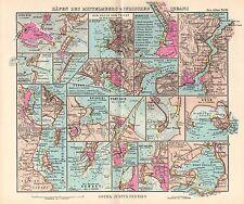 1944 SMALL GERMAN MERCANTILE MARINE MAP ~ PORTS MEDITERRANEAN  INDIAN OCEAN