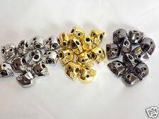 10 X Aleación de rodio plateado cráneo granos lado agujeros 12mm