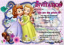 5 ou 12 cartes invitation anniversaire Princesse Sofia réf 315