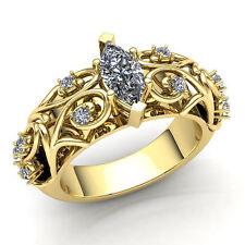 Real 2carat Princess Cut Diamond Ladies Bridal Fancy Engagement Ring 14K Gold