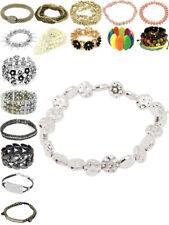 Womens Bracelet Diamante Beads Crystal Charm Flower Ladies Jewellery Gift New