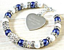 Grabado Personalizado Something Azul Boda Nupcial Joyería Brazalete