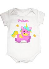 Body bébé licorne mignon fille  personnalisé avec prénom réf 34