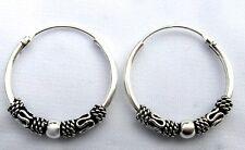 Sterling  Silver  925  Bali  Hoop  Sleeper  Earrings  (12,14,16,18,20  MM ) !!