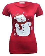 Nueva camiseta para mujer Pingüino Navidad Novedad Rudolph Brillo Impresión Navidad Camiseta Top 8-14