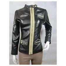 Donna Nero Bianco CHAMPION pelle slim stretto Aderente Corto Stile Biker Bike Jacket