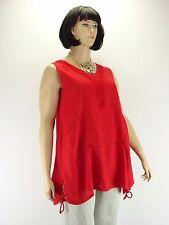 Tunika Kleid Big Size Leinen Spitze NEU Rot A Form Lagenlook Taschen Gr. 42 - 52