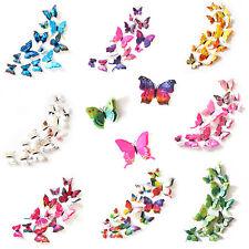 3D Schmetterlinge Doppelflügel Effekt Blumen 12er Set Dekoration Wandtattoo