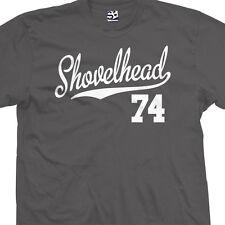 Shovelhead 74 Script Tail T-Shirt - 1974 Motorcycle Bobber Chopper - All Colors