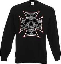 Sudadera en negro góticos-, Biker - & tatuaje motivo modelo Maltese Skull