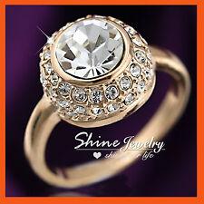 9K Rose GOLD GF R113 WOMENS GIRLS Simulated Diamond BUBBLE WEDDING SOLID RING